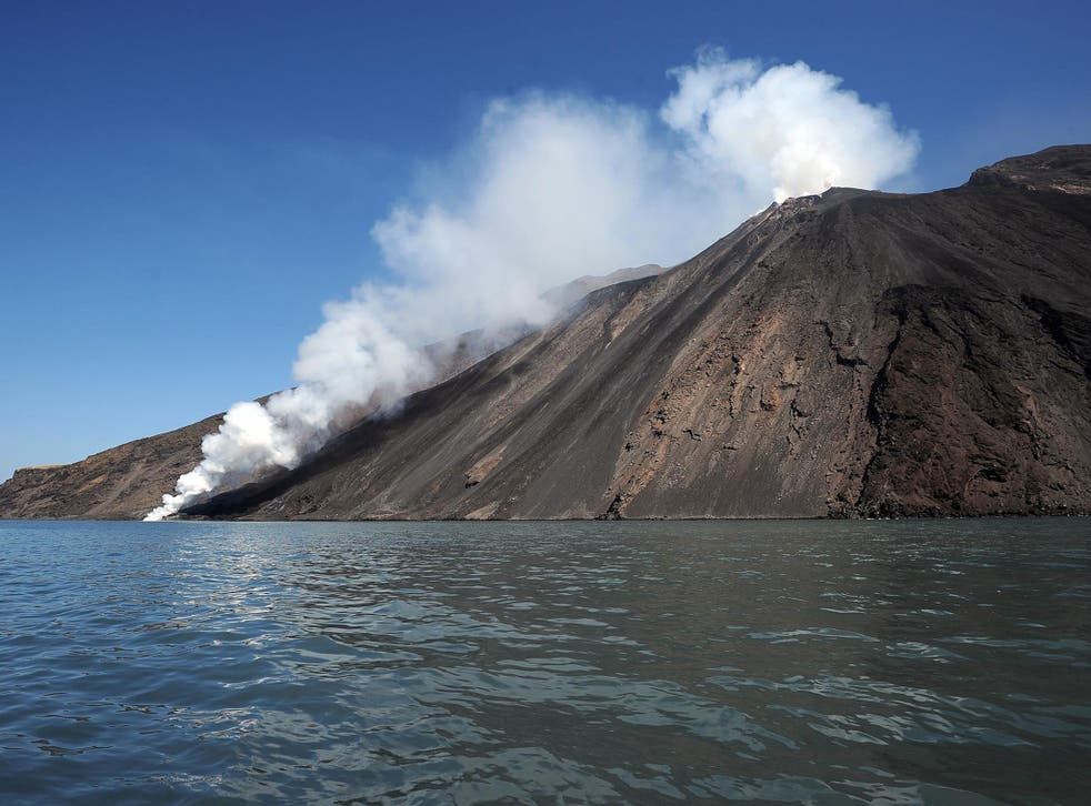 Lava from the Stromboli volcano flows into the sea. Stromboli, one of Europe's most active volcano, is part of the seven-island Eolian Archipelago just off Sicily in southern Italy