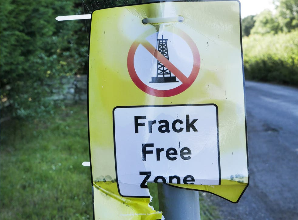 A protest poster at a proposed fracking site at Kirby Misperton, Ryedale, North Yorkshire