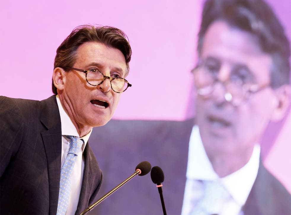 Lord Coe addresses the delegates after being elected the new president of the IAAF in Beijing