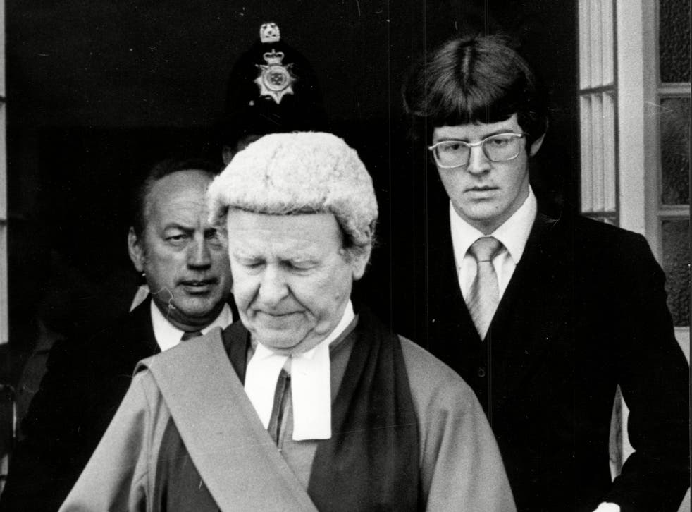 Father's day: Adam Mars-Jones and his father Sir William Mars-Jones during 'Black Panther' Donald Neilson's murder trial in 1976