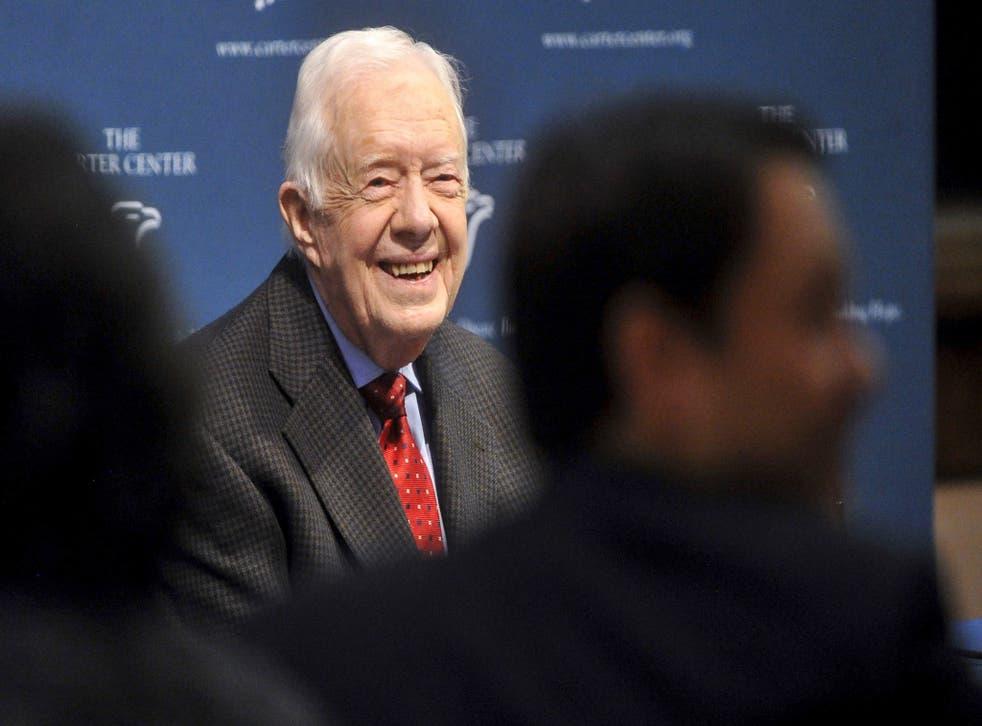 Jimmy Carter speaking on Thursday in Atlanta