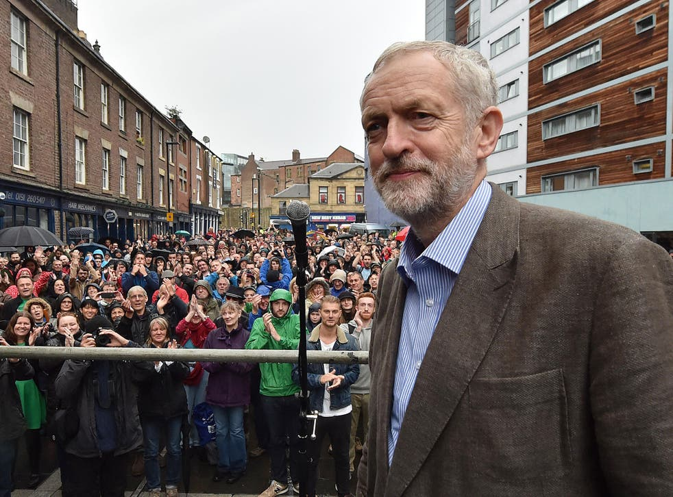 Labour leadership candidate Jeremy Corbyn speaks outside the Tyne Theatre and Opera House, Newcastle