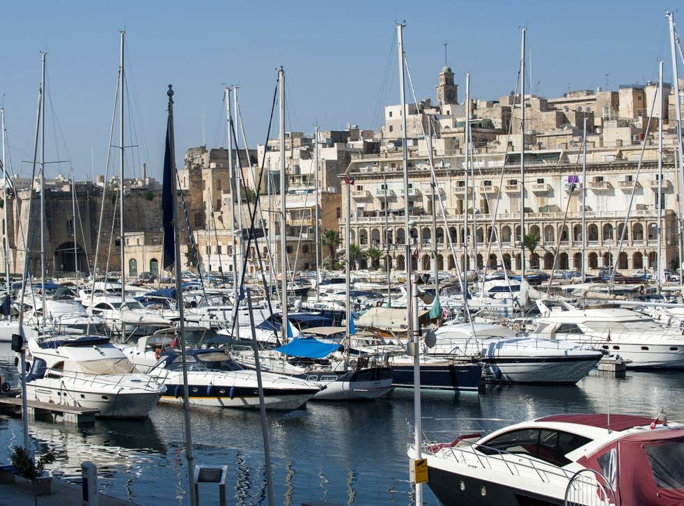 Moored sailboats in Malta