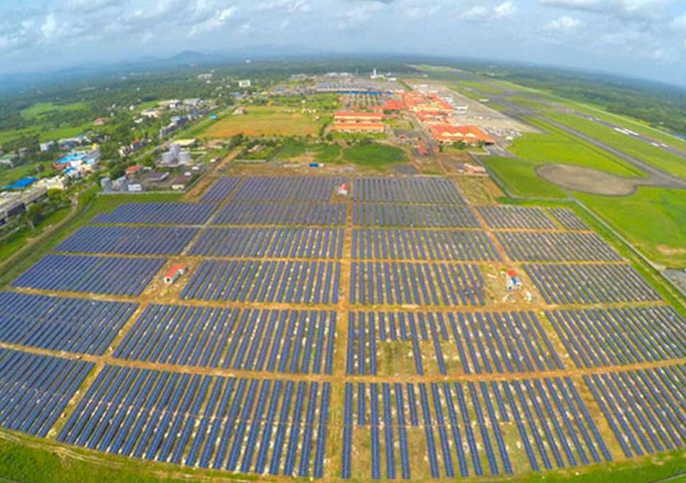 A field of solar panels at Cochin International Airport in southern India