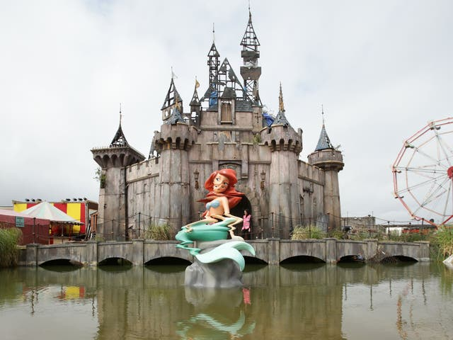The Little Mermaid sculpture at Banksy's 'Dismaland'