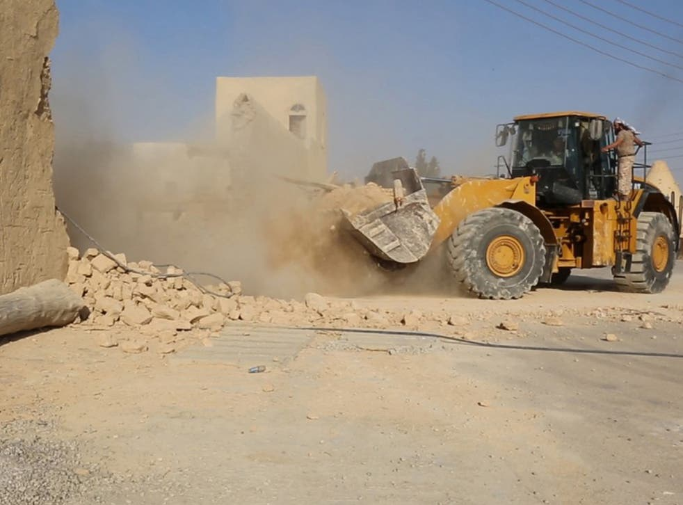 The extremist group posted photos on social media Friday showing bulldozers destroying the Saint Elian Monastery