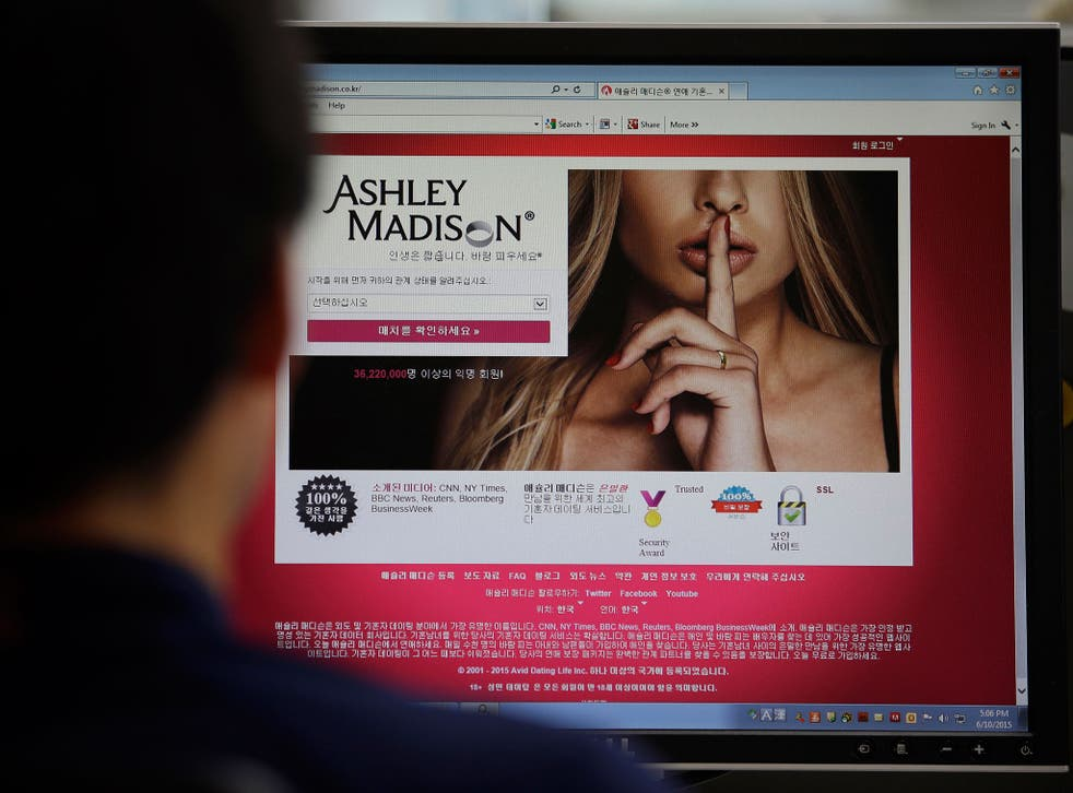 The login page of the Ashley Madison website
