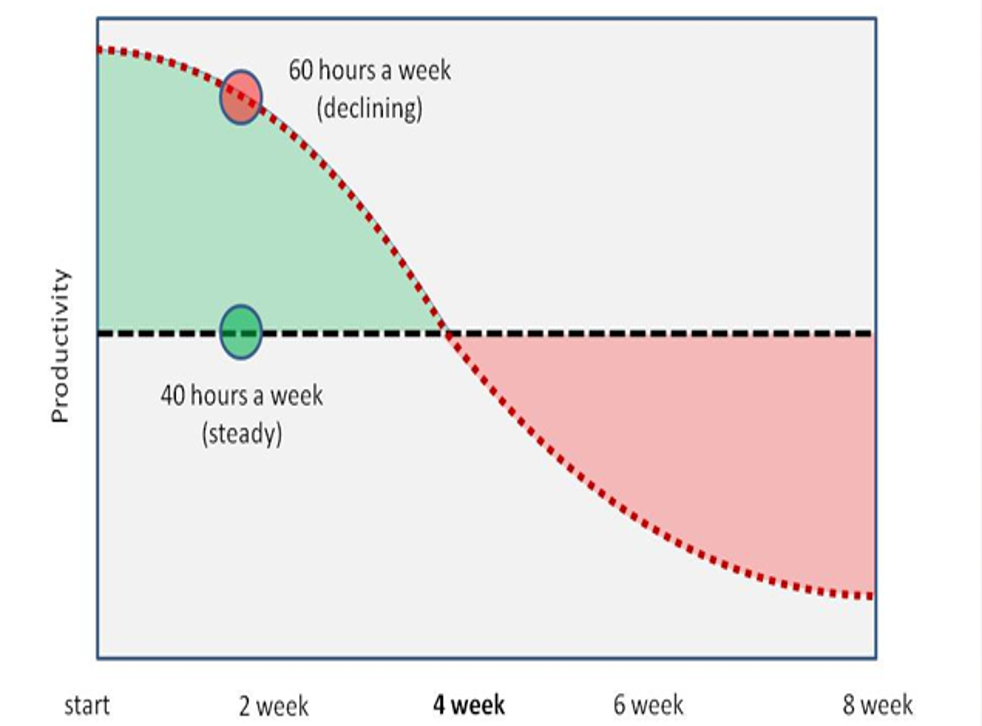 Daniel Cook's suggestion of the contrasting levels of productivity according to hours worked per week
