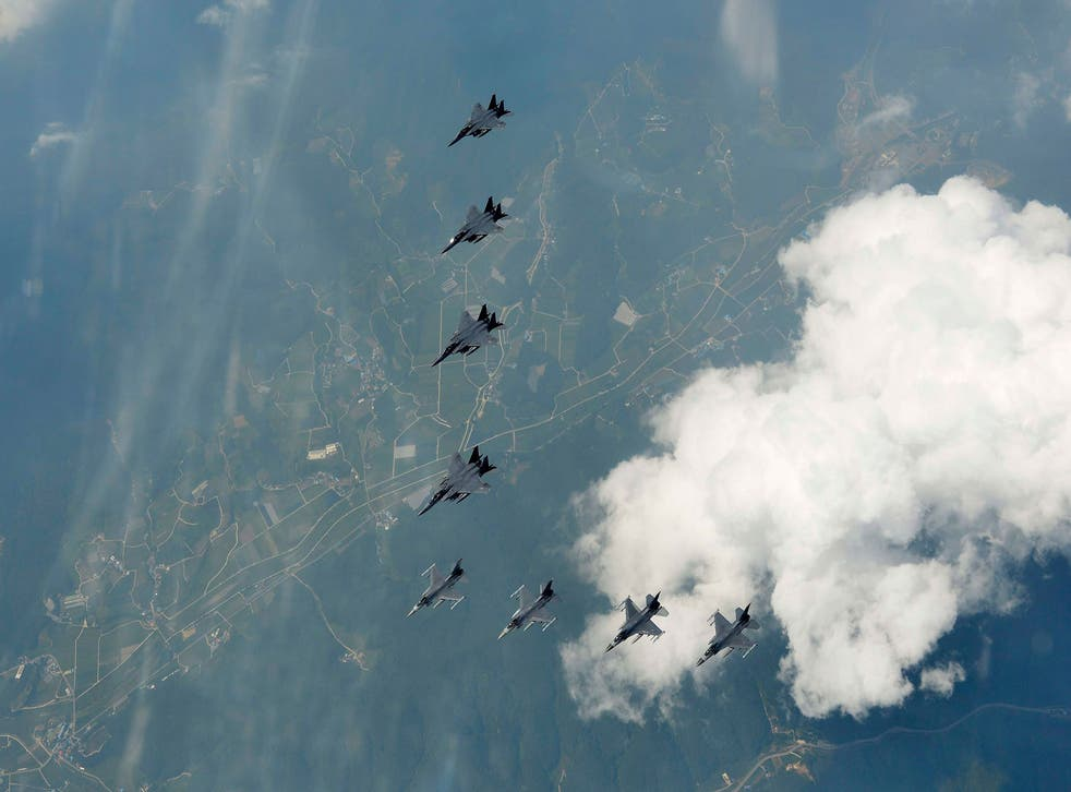 South Korean and US fighter jets flying over South Korea in a show of force against North Korean threats of provocation