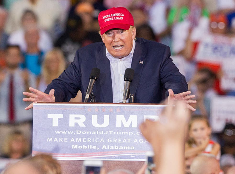 Republican presidential candidate Donald Trump speaking at a rally in Alabama
