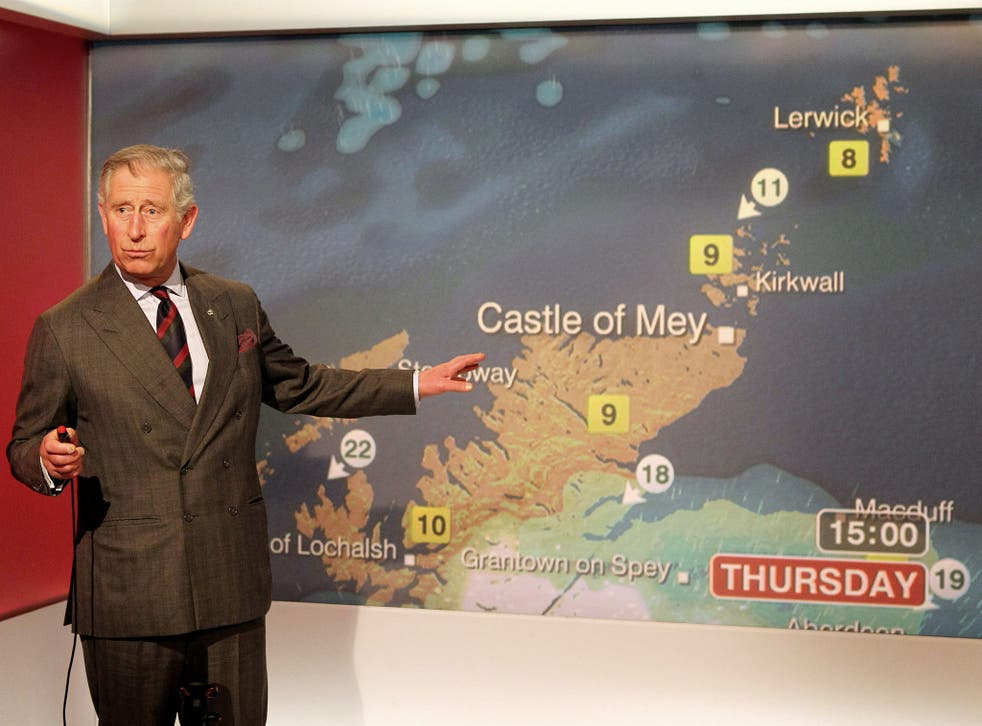 Prince Charles presents the weather during a special BBC Scotland broadcast in 2012