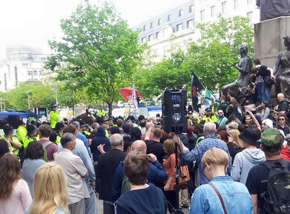 Around 40 far-right protesters and 200 counter protesters met in Manchester city centre yesterday