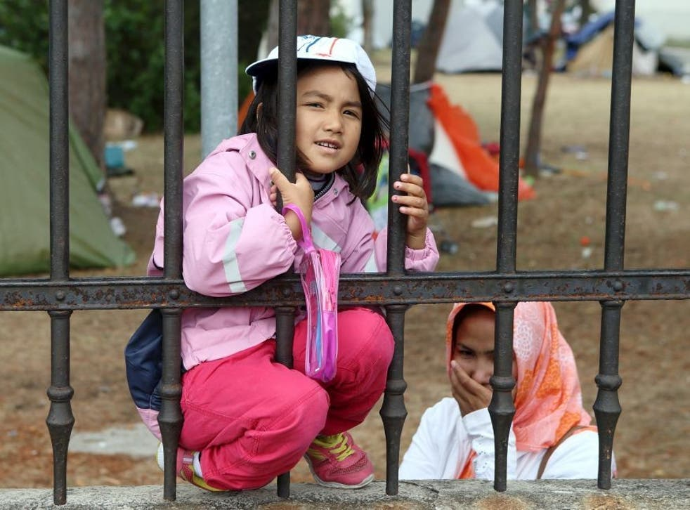 Refugees look through the fence around the asylum processing centre in Traiskirchen