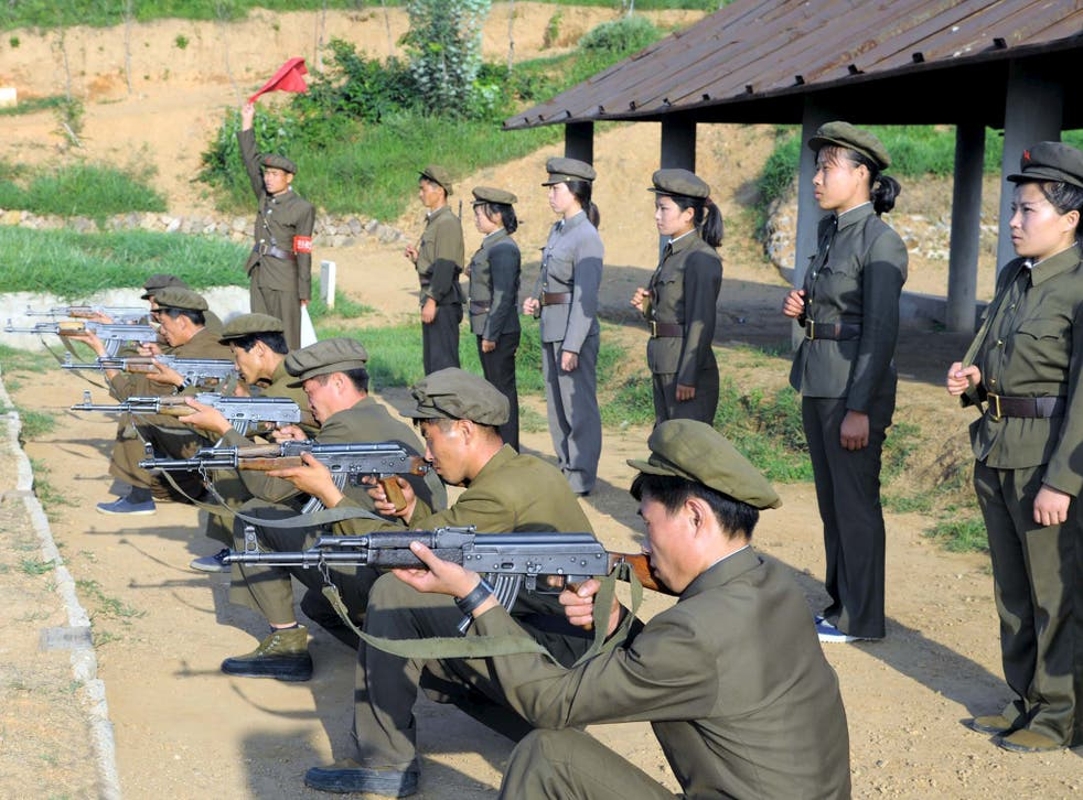 North Koreans who signed up to join the army train in the midst of political tension with South Korea