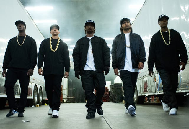 NWA in a scene from 'Straight Outta Compton'