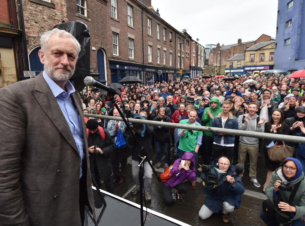 Jeremy Corbyn speaks outside the Tyne Theatre and Opera House, Newcastle, during his campaign.