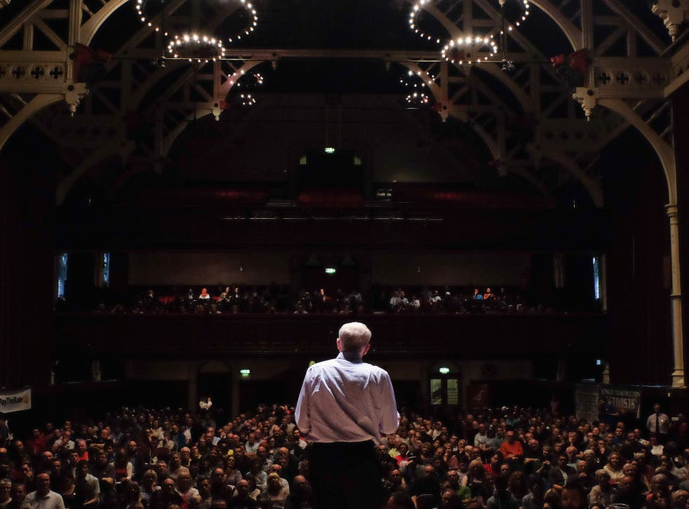 Jeremy Corbyn addresses over a thousand supporters at Middlesbrough Town Hall on August 18, 2015