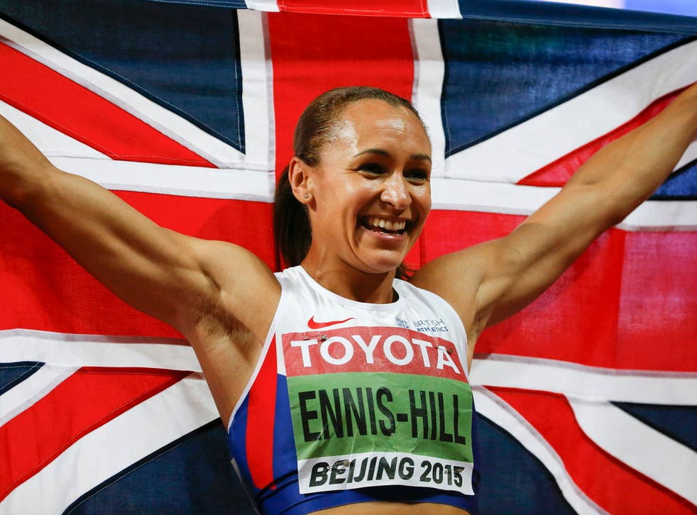 Jessica Ennis-Hill of Britain reacts after winning the women's heptathlon during the 15th IAAF World Championships at the National Stadium in Beijing, China