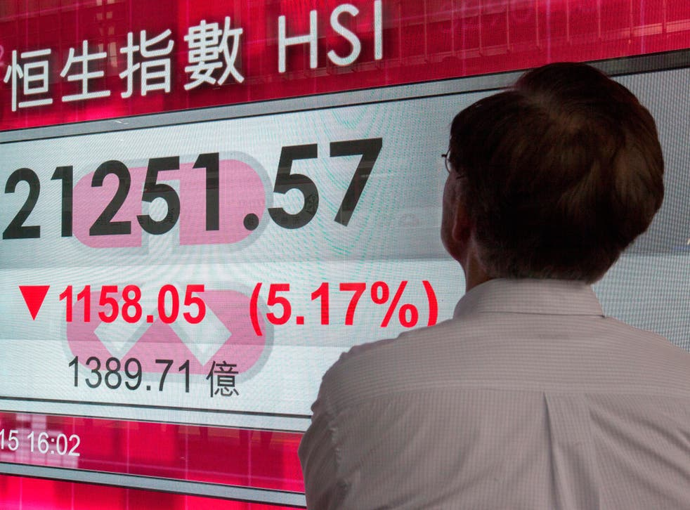 The Hang Seng Index plunged by 1,158.05 points, or 5.17 per cent, after a new wave of panic-selling hit the mainland Chinese stock market (EPA)