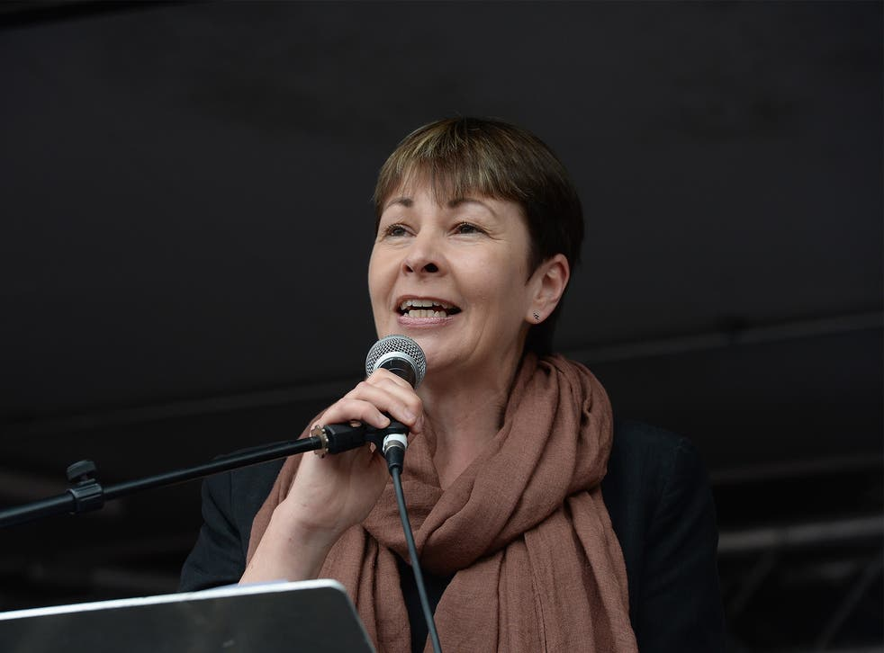 Caroline Lucas speaks to thousands of demonstrators gathered in Parliament Square to protest against austerity and spending cuts on June 20, 2015 in London, England.