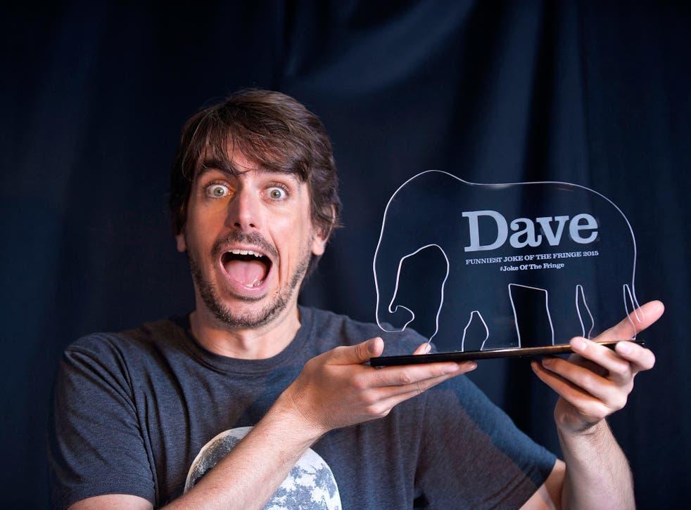 Darren Walsh after winning the Dave Funniest Joke of the Fringe 2015 award at the Edinburgh Fringe