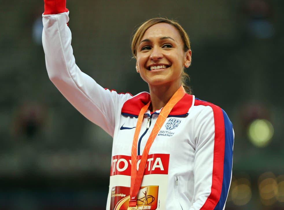 Jessica Ennis-Hill celebrates receiving her gold medal