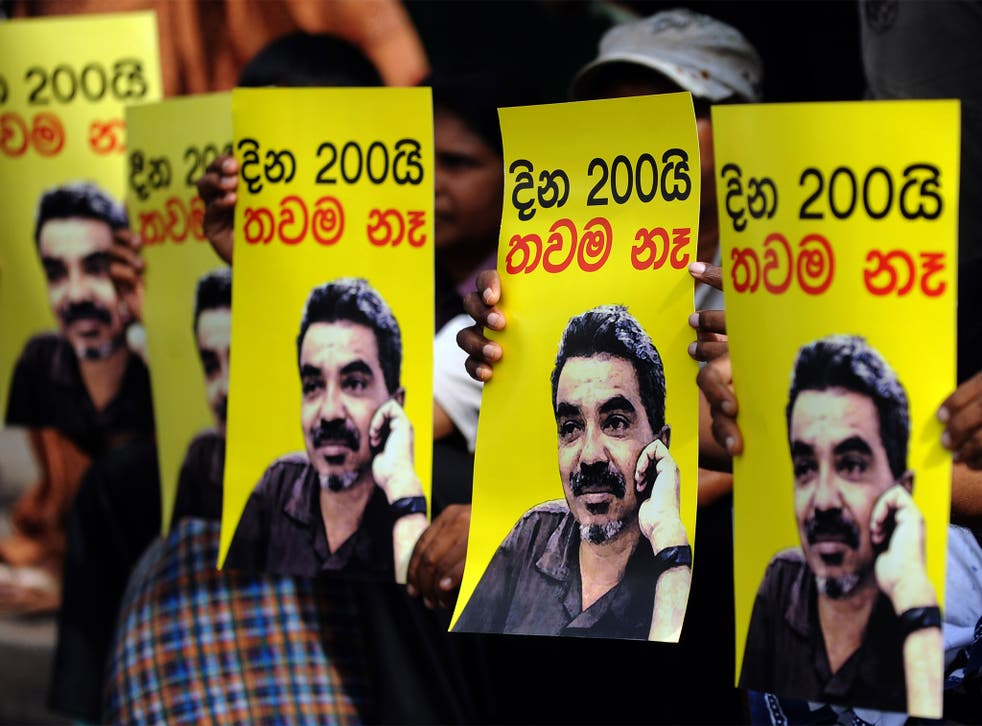 Protest held for the missing journalist in Colombo in 2010
