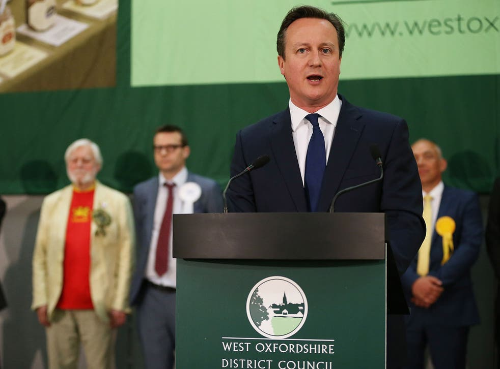 Prime Minister David Cameron speaks after retaining his seat in Witney, in May