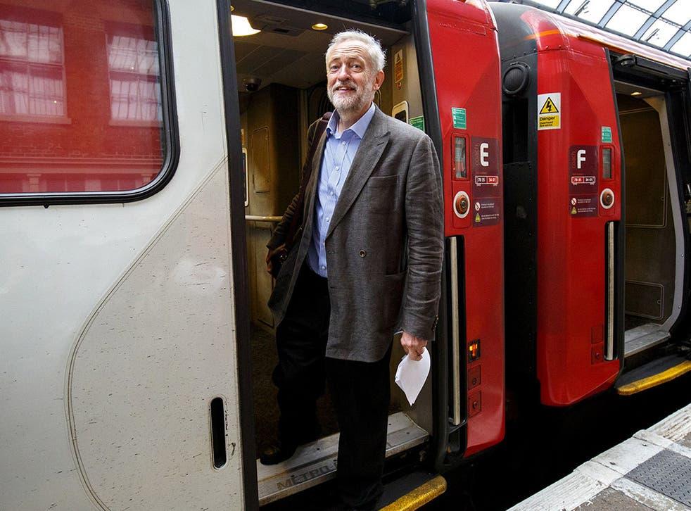 Jeremy Corbyn catching a train at King's Cross last week