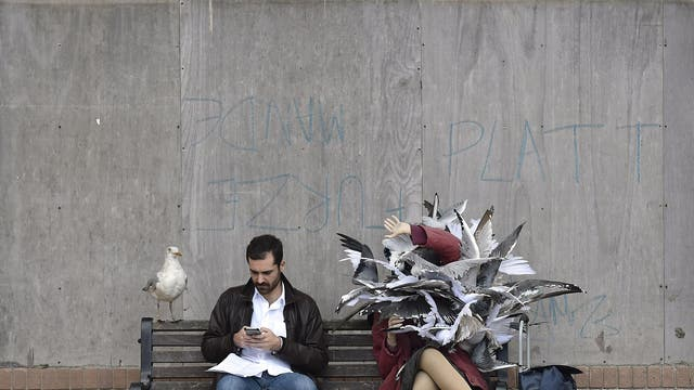"""""""Seagull Attack"""" by Banksy sits near the entrance, proved to be a bit of a photo opportunity, a taxidermied seagull perches on the other side of the bench"""
