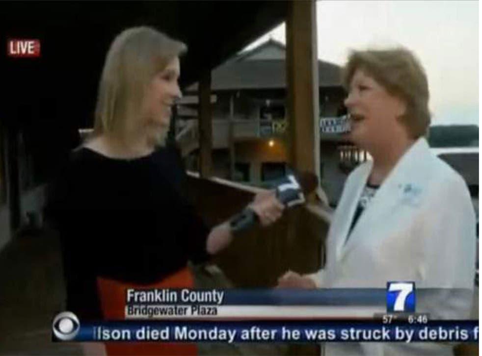 WDBJ reporter Alison Parker, left, interviews Vicki Gardner shortly before
