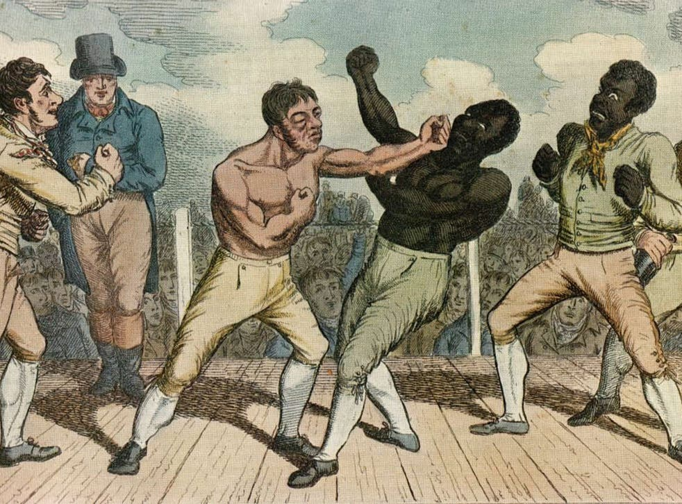 A bout time: Bill Richmond (far right) with fellow boxer Tom Cribb (second from right), squaring up to Tom Molineaux
