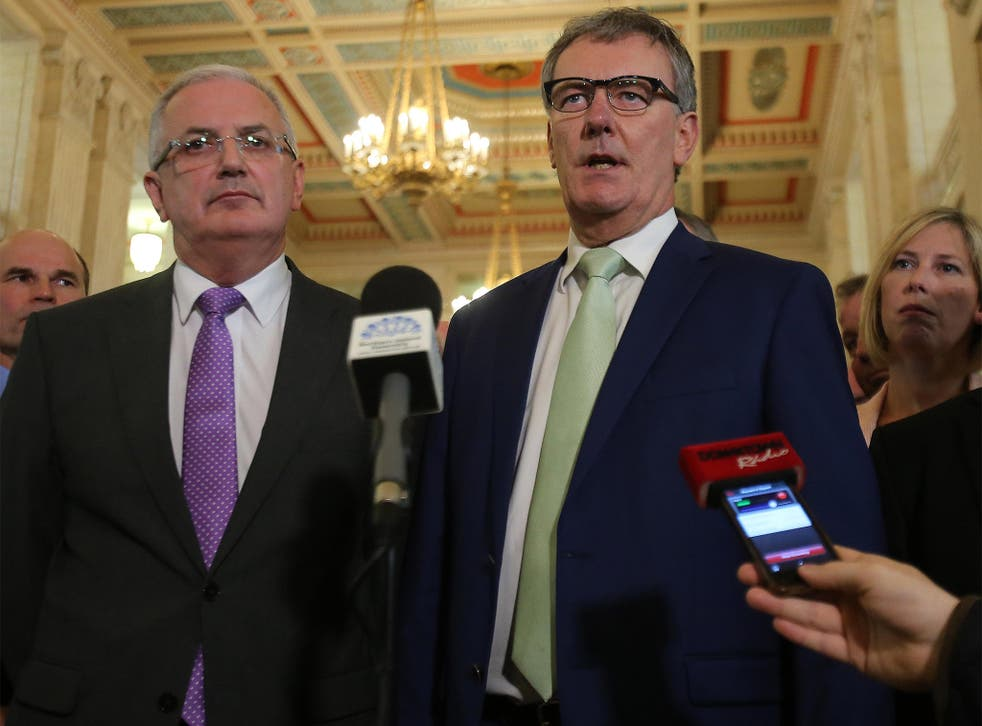 Ulster Unionist Party Leader Mike Nesbitt speaks to the media at Stormont
