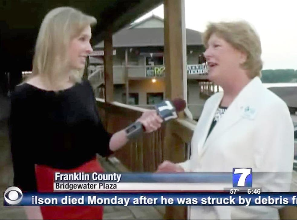 Reporter Alison Parker interviewing Vicki Gardner moments before the attack
