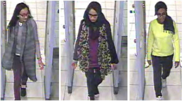 Shamima Begum, 15, Kadiza Sultana, 16, Amira Abase, 15, schoolgirls at Bethnal Green Academy in east London, fled to Syria in February 2015