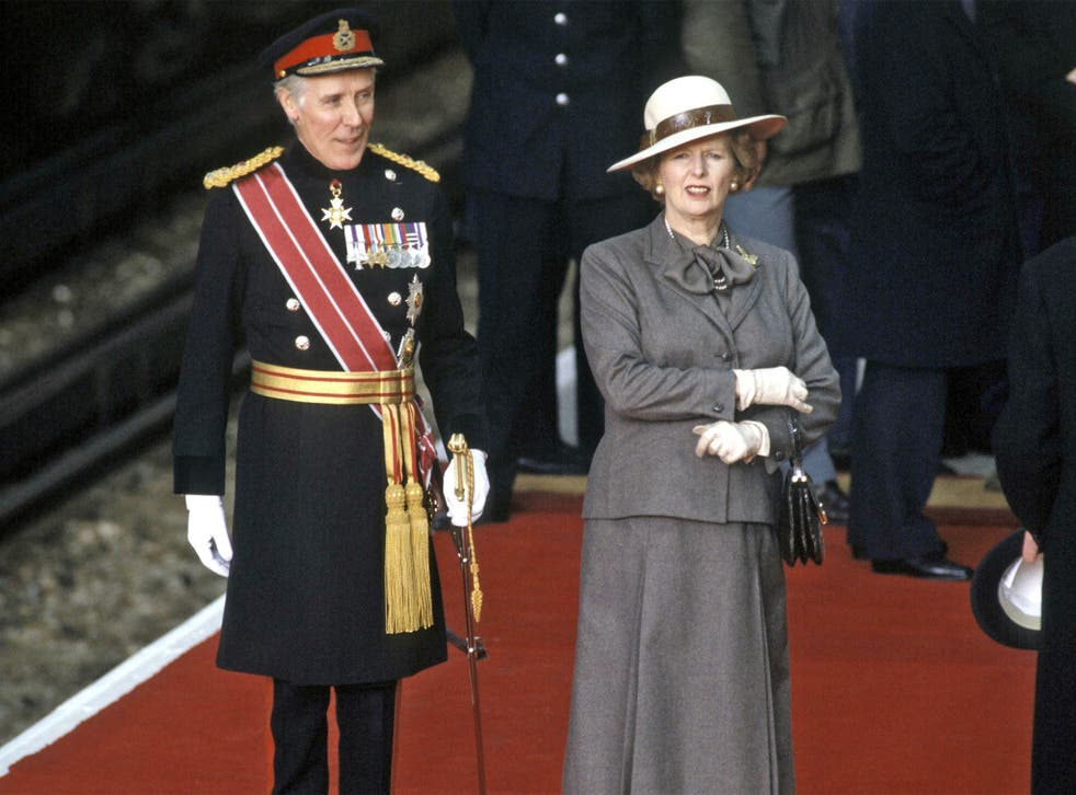 General Sir Hugh Beach, as vice Lord-Lieutenant of Greater London, with the late Prime Minister Margaret Thatcher