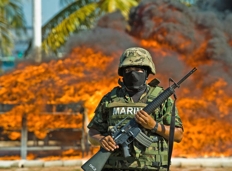 823,925 Kgs of seized cocaine are incinerated at a naval base in 2009