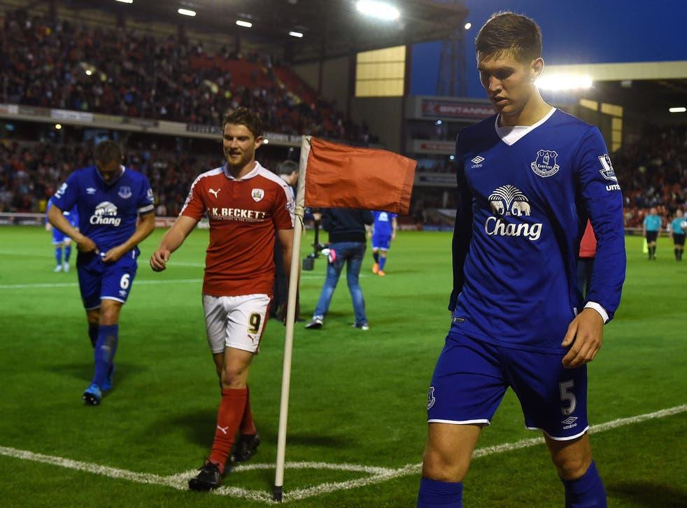 John Stones during Everton's match at Barnsley