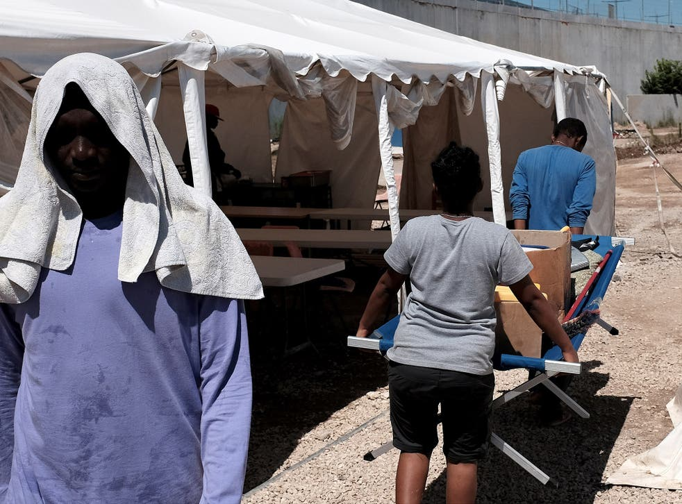 Eritrean migrants at a camp near Rome