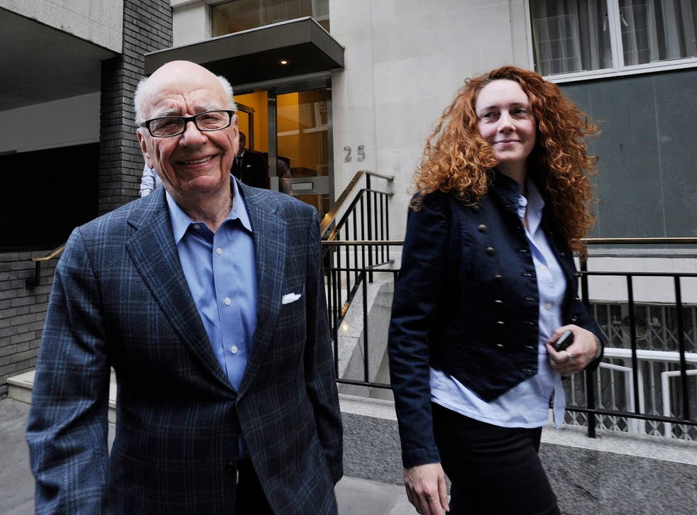 Rupert Murdoch with Rebekah Brooks, the former chief executive of News International, who was cleared of conspiring to hack phones