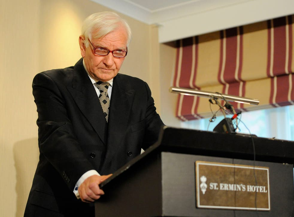 """Former Tory MP Harvey Proctor speaks during a press conference  at St Ermin's Hotel, London, where he insisted he is """"completely innocent"""""""