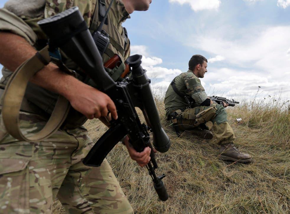Ukraian soldiers in Donetsk