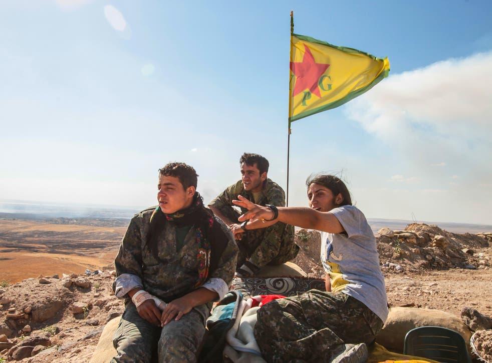 Syrian Kurdish fighters of the YPG at Kobani