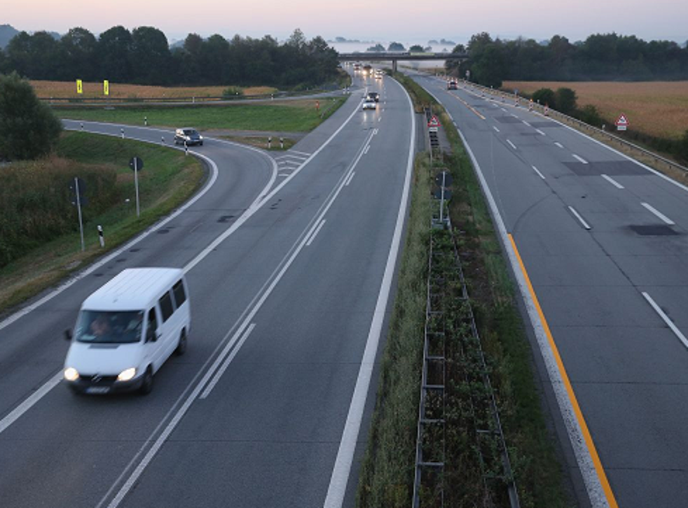 The A3 highway near the border to Austria on a section used daily by arriving migrants