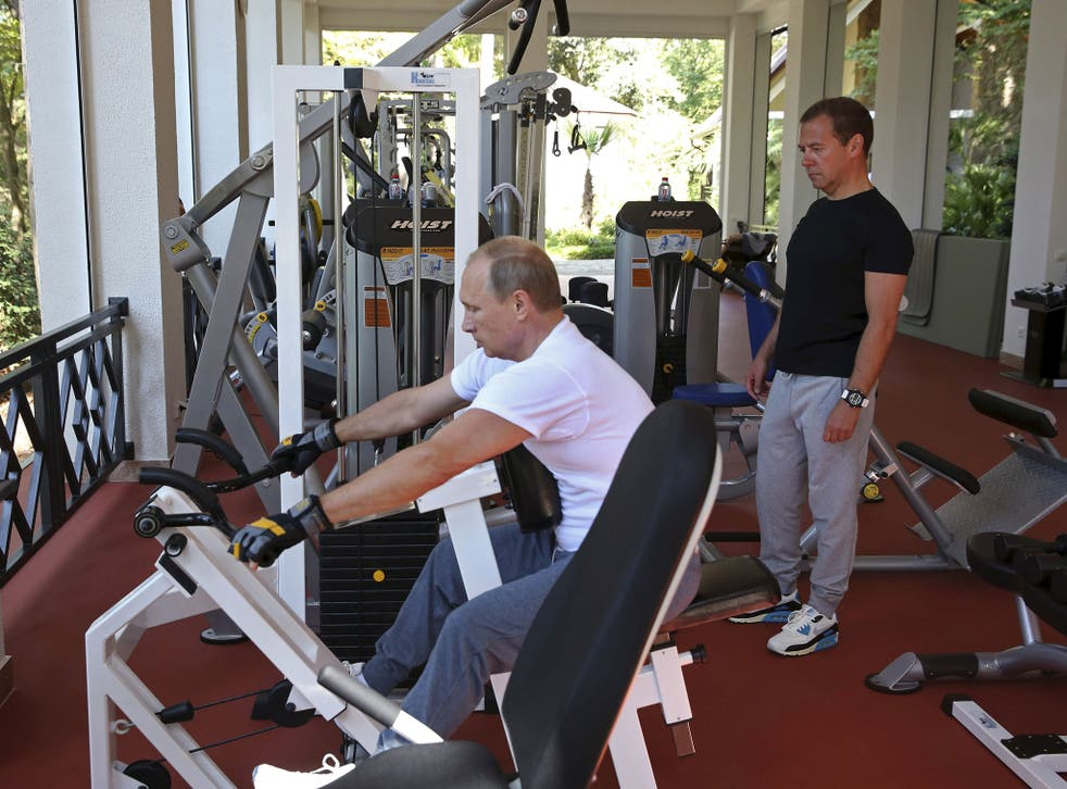 Putin and Medvedev hit the gym