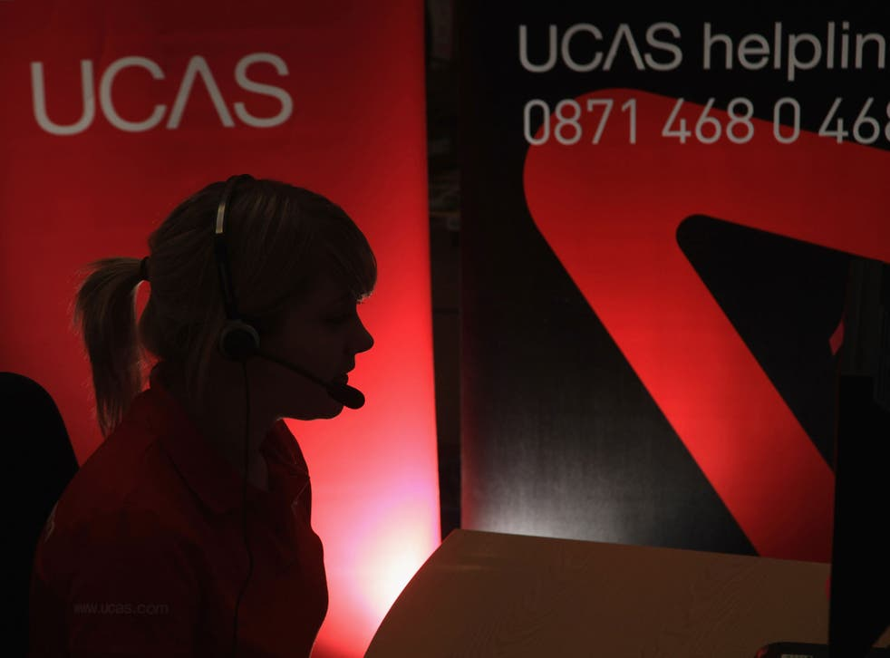 A Ucas employee at the service's clearing house call centre