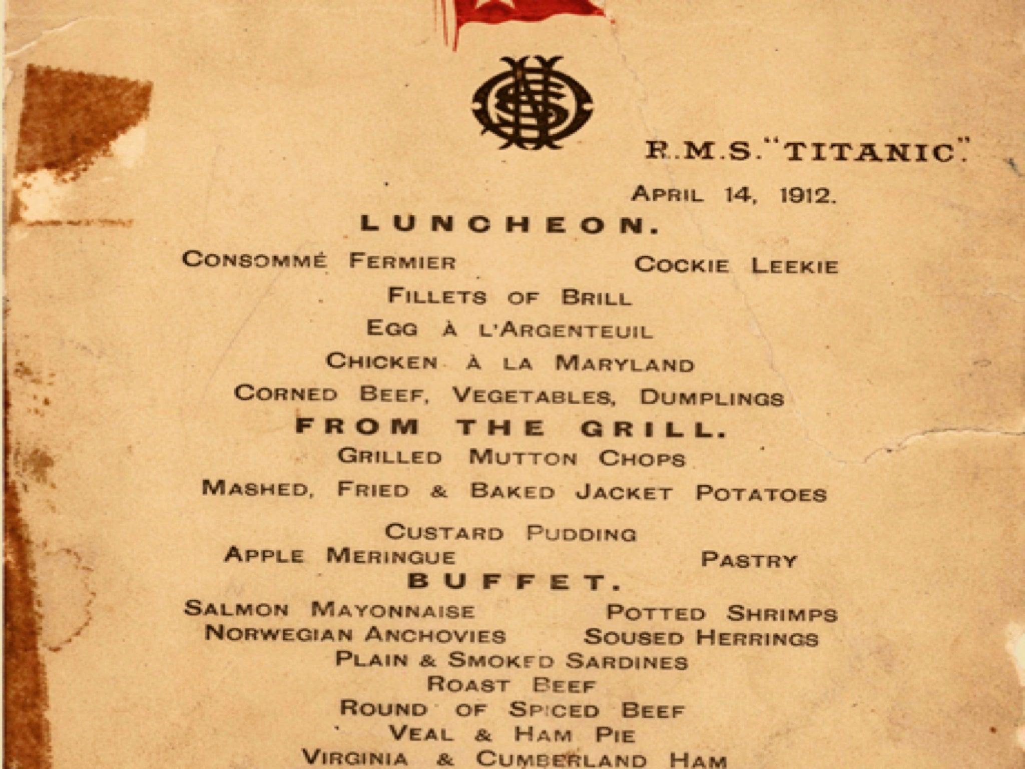 Resultado de imagen para titanic menu