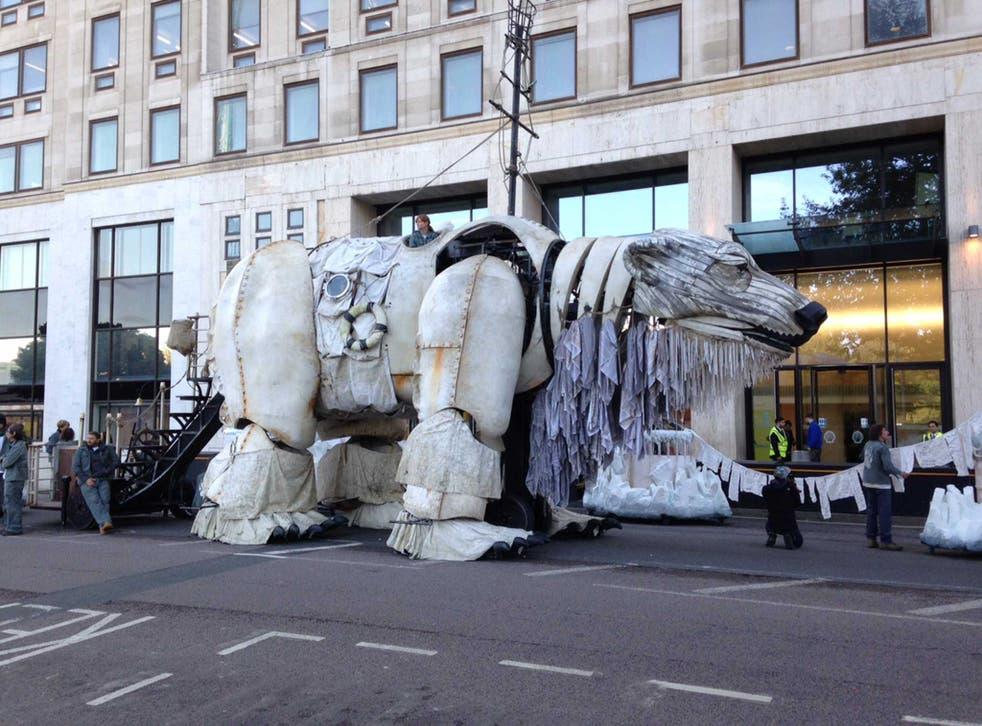 The polar bear installed outside Shell's headquarters