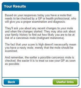 Do you have a cancerous mole take this nhs test to find out the a set of possible results from the mole self assessment fandeluxe Choice Image
