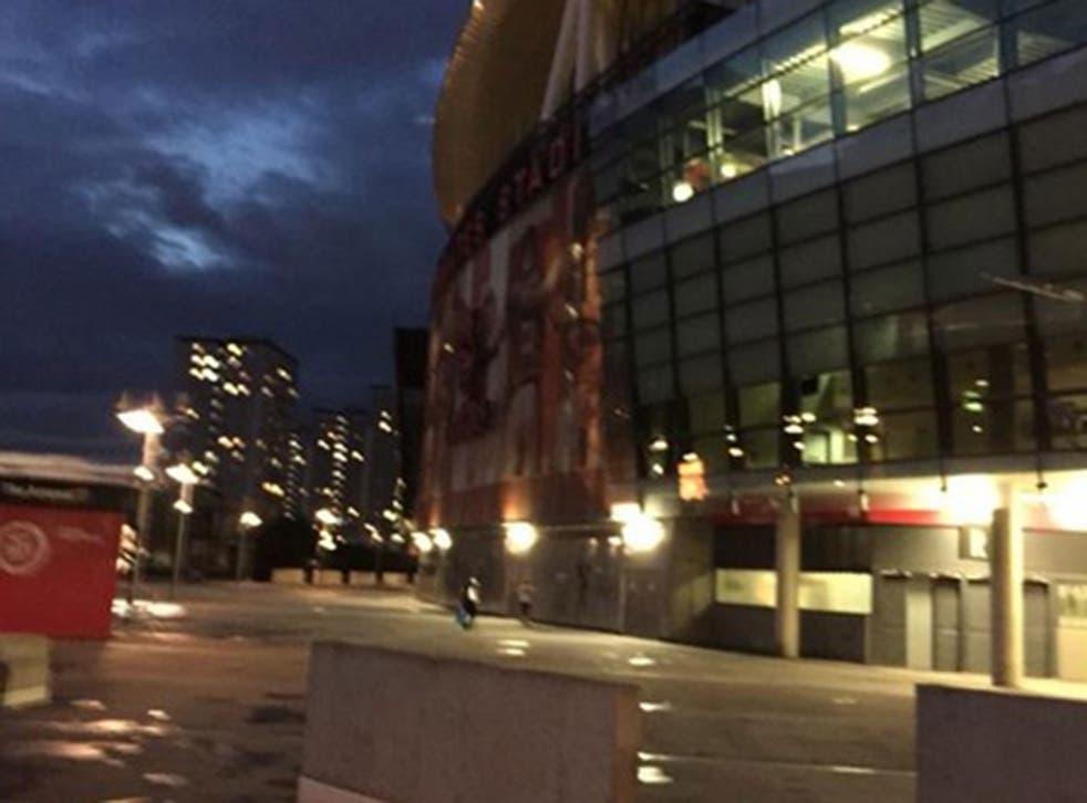 The Emirates Stadium last night, during the 'protest'